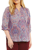 Investments Plus Deco Long Sleeve Roll Tab Y-Neck Popover
