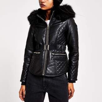 River Island Womens Petite Black belted hooded puffer jacket