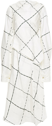 Victoria Beckham Draped Checked Silk-twill Midi Dress