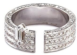 Dauphin 'Disruptive' diamond 18k white gold three tier open ring
