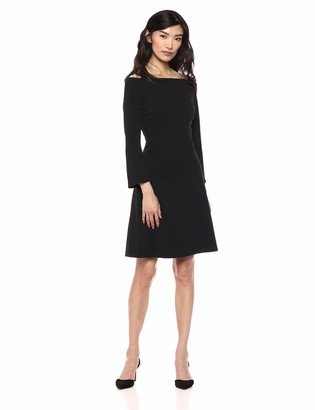 Lark & Ro Women's Long Sleeve Off the Shoulder Fit and Flare Dress