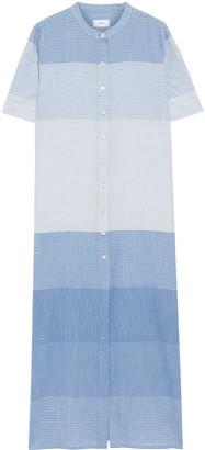 Onia Renee Striped Cotton-jacquard Maxi Shirt Dress