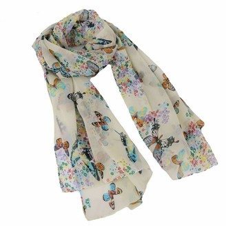 Dydtop Women Wrap Scarf Shawl Stole Butterfly Scarf Head Band Printed Shawl Wrap Scarf Silk Feeling Lightweight To Any Outfit All Year Around Clothing Accessory