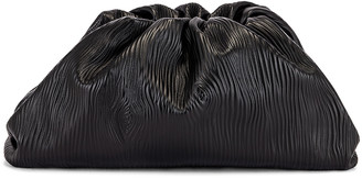 Bottega Veneta Leather Bark Pouch Clutch in Black & Silver | FWRD
