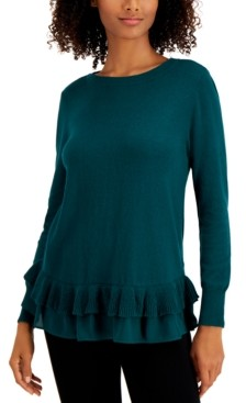 Style&Co. Style & Co Petite Chiffon-Hem Tunic Sweater, Created for Macy's