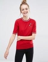 Fred Perry Bella Freud Star Embroidered Knit Top
