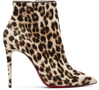 Christian Louboutin So Kate Booty 100 Leopard-print Calf-hair Boots - Leopard