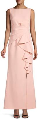 Eliza J Ruffle Front Crepe Gown