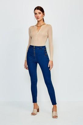 Karen Millen Zip Front Button Detail Jean