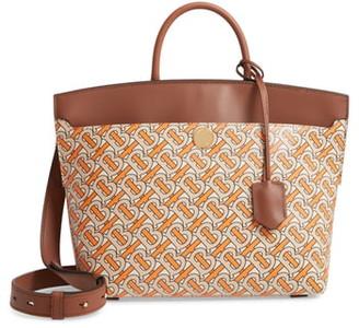Burberry Small Society TB Print Leather Top Handle Bag