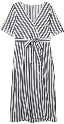 BB Dakota Set Sail Yarn-Dyed Rayon Stripe Asymmetric Button Front Dress (Navy) Women's Clothing