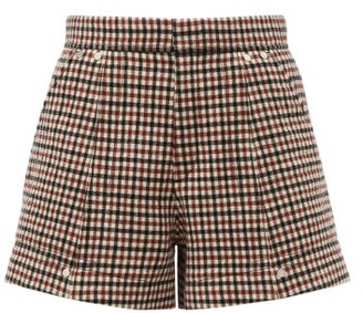 Chloé High-rise Checked Wool-blend Shorts - Womens - Beige Multi