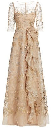 Teri Jon by Rickie Freeman Metallic Floral Illusion Tulle Side Ruffle A-Line Gown