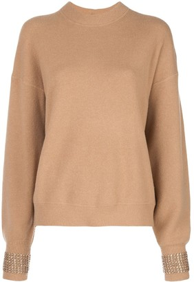 Alexander Wang Embellished-Cuff Oversized Sweater