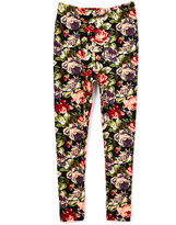 Beary Basics Black & Burgundy Rose Leggings - Toddler & Girls