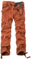 OCHENTA Men's Cotton Washed Slim-fit Multi Pockets Military Cargo Pant Orange
