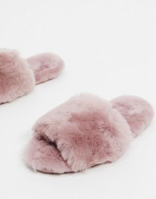 ASOS DESIGN Nola premium sheepskin slippers in mauve