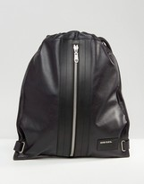 Diesel Leather Twice Leather Backpack In Black