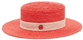Maison Michel Kiki Straw Boater Hat - Womens - Red