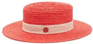 Maison Michel Kiki Straw Boater Hat - Womens - Red