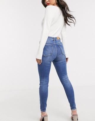 Stradivarius high waist skinny jean in medium wash