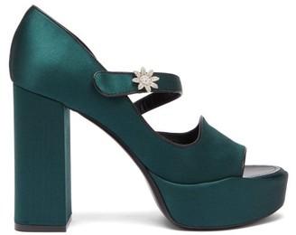 Fabrizio Viti - Davis Crystal-embellished Satin Platform Sandals - Womens - Dark Green