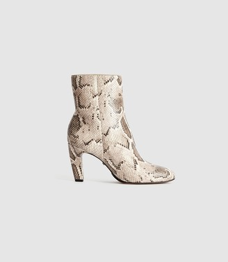 Reiss Sophia Snake - Leather Ankle Boots With Snake Detail in Mono Snake