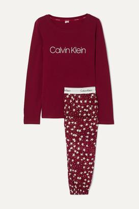 Calvin Klein Underwear Printed Stretch-cotton Jersey Pajama Set - Burgundy