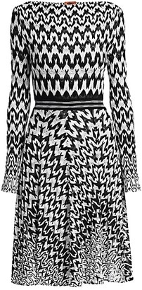 Missoni Long Sleeve Knit Fit-&-Flare Dress