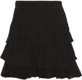Maje Jupiter ruffled stretch-knit mini skirt