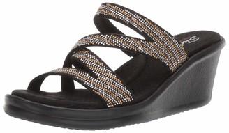 Skechers Women's Rumblers-MEGA Flash-Rhinestone Multi Strap Wedge Slide Sandal