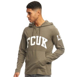 French Connection Mens LDN Hoodie Khaki/White