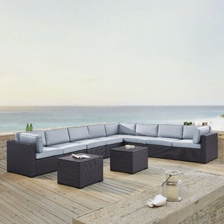 Seaton Sol 72 Outdoor 7 Piece Sectional Seating Group Set with Cushions Sol 72 Outdoor Cushion Color: Mist
