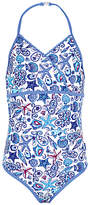 Fat Face Girls' Starfish Print Swimsuit, Blue