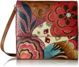 Anuschka Anna By Anna by Women's Genuine Leather Small Flap-Over Slim Cross Body | Hand Painted Original Artwork | Tribal Potpourri