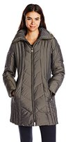 Anne Klein Women's 35-Inch Chevron-Quilt Coat with Faux Fur-Trim Hood