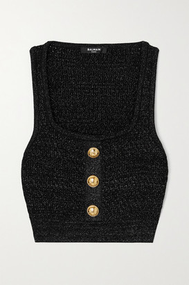 Balmain Cropped Button-embellished Metallic Ribbed-knit Top - Black