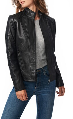 Bernardo Chevron Sleeve Sheepskin Leather Moto Jacket