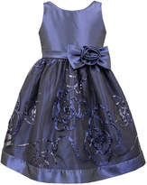 Jayne Copeland Navy Floral Embriodered Dress - Toddler & Girls