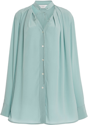 Victoria Beckham Pleated V-Neck Silk Blouse
