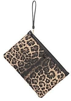 Dolce & Gabbana Women's Leopard-Print Jacquard Raffia Wristlet