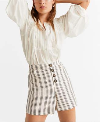MANGO Striped Linen Shorts