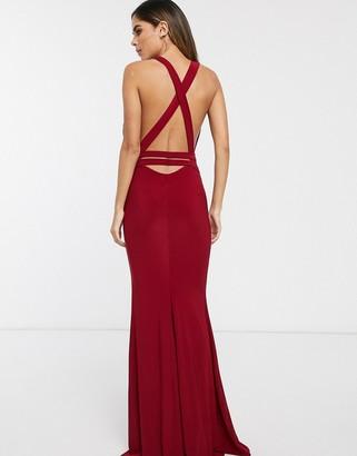 Club L London strappy cross back fishtail maxi dress