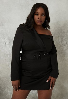 Missguided Plus Size Black Off Shoulder Blazer Dress