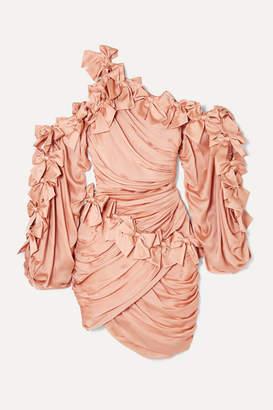 Zimmermann Sabotage Bow-detailed Draped Silk-satin Mini Dress - Blush