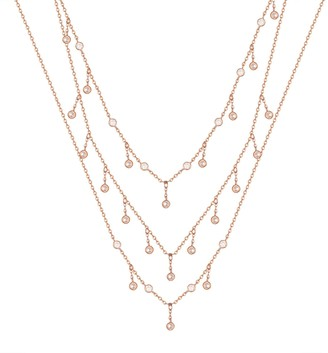 Seol + Gold 18Ct Rose Gold Vermeil Three Layered Cz Choker Necklace