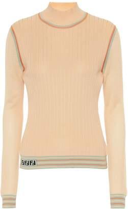 Fendi Silk knit turtleneck top