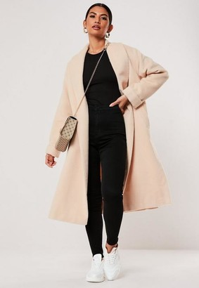 Missguided Cream Shawl Collar Split Side Coat