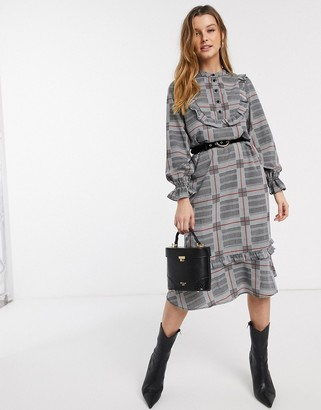 Vero Moda check ruffle front shirt dress