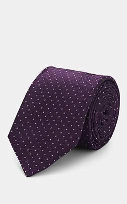 Barneys New York Men's Dot-Print Silk Faille Necktie - Purple